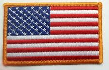 """Amerixan flag embroidered patch gold border USA US United States 3.5"""" wide"""