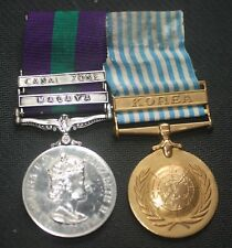 "GSM with ""Canal Zone & Malaya"" Clasps + UN Korea Medal - Sgt N Corrigan"