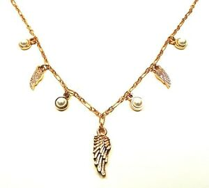 ALEX and ANI Rafaelian Rose Gold Angel Wing  Necklace with Pearl Charms