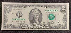 2003 $2 FRN Shift & ink Error  Uncirculated funny serial number 25084000  BP 3