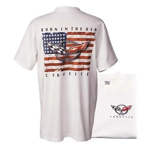 CORVETTE T-SHIRT - BORN IN THE USA Official USA Licensed M L XL V8 weiß GM