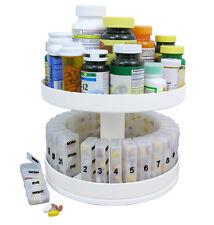 Pill Holder Carousel Medicine Bottle Daily Organizer Center Rotating Cabinet Box
