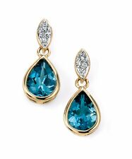 9ct Yellow Gold Diamond and London Blue Topaz Drop Earrings Christmas Xmas Gift