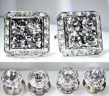 Black Diamond Tuxedo Square Cufflinks & Round Studs Made W/Swarovski Crystals