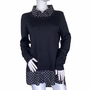 Adrianna Papell Polkadot Black Collared Layered Lightweight Long Sweater Medium
