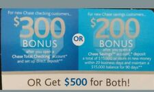CHASE $500 Bonus: $300 Checking + $200 Savings Exp 6/2019