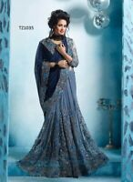 Bollywood Indian Ethnic Embroidery Work Designer Saree Sari Bridal Wear Party NF