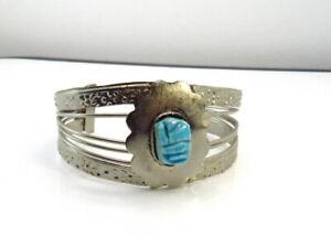 Vintage  Scarab Bracelet Silver Tone Cuff Egyptian Revival
