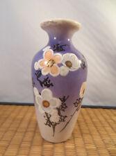 Antique Japanese Export Satsuma Ceramic Vase Cherry Blossom Plum Flowers Japan