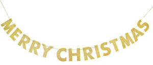 Gold Glitter Merry Christmas Letter Banner Decoration CHEAP CLEARANCE PRICE