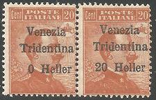 1918 Trentino  coppia S. N° 30+30c varietà integri **