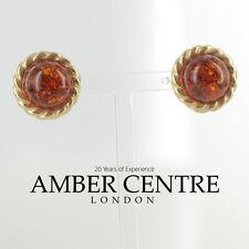 Prodotto In Italia Orecchini Ambra Del Baltico Cognac 9kt Oro RRP360 GS0060