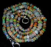 "Natural Ethiopion Opal Gemstone Beads Plain Smooth Rondelle 1 Strand 16"" 3X5 MM"