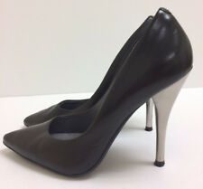 *KENNETH COLE* Black Leather Silver Heel Stilettos  Women 8M