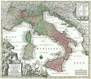 ITALIA M. SEUTTER 1734 Carta Geografica Stampa Antica ORIGINALE Sicilia mappa