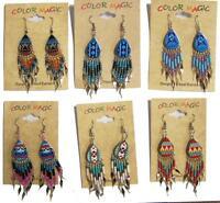 2 pair TEAR DROP NATIVE STYLE SEED BEAD EARRINGS ladies dangling pierced ears