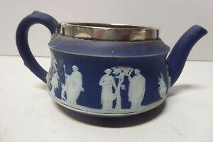 VINTAGE WEDGWOOD POTTERY 1800s JASPER WARE TEAPOT COFFEE POT STERLING SILVER RIM