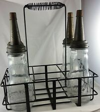 BOE MFG CO MINNEAPOLIS MN GAS STATION MOTOR OIL GLASS BOTTLES WITH CARRYING RACK
