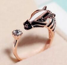 Zebra Horse Pony Wrap Ring With Rhinestone Tail (Gold Colour) Woman Men