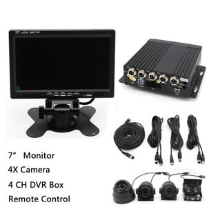 "4CH 7"" Car LCD Monitor + 4X Night Vision Camera Video Recorder For Truck Van Bus"