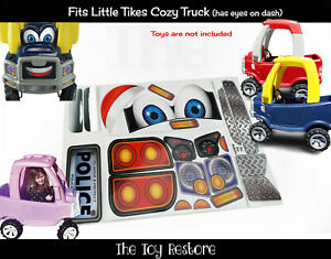 Police Toy Restore Replacement Decals for Little Tikes Cozy Truck With Eyes