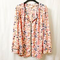 ModCloth Women's Tunic Top Size 2X Pink Multicolor Floral Long Sleeves Polyester
