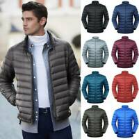 Mens Packable Goose Down Jacket Ultralight Stand Collar Coat Winter Outdoor Coat