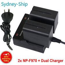 Dual Charger+2x B for Sony NP-F970 NP-F960 CCD-SC CCD-TR CCD-TRV 7900mAh AU-ship