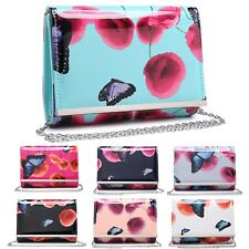 Ladies Patent Floral Butterfly Clutch Bag Poppy Evening Purse Handbag MA35017