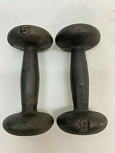 Vintage Pair BFCO 5 LB Dumbbells 10 LB Total Weight Bun Shape Iron