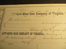 Low Moor Iron Company of Virginia 1800s Stock Certif- Crisp and Unissued w/stub