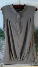 NEW-Defect Zara Collection Ladies M 100% Cotton Taupe/Gray Sleeveless Knit Top