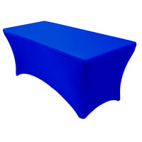 Spandex Fitted 6 Ft Rectangular Table Cover Royal Blue,Stretch Tablecloth