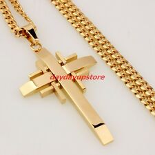 Men Chain 18K Gold Plated Curb Stainless Steel Cross PENDANT NECKLACE 23.6'' 4mm