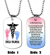 DOG TAG NECKLACE - Nurse's Prayer 2 NICU RN LPN NP Babies Care Jesus God