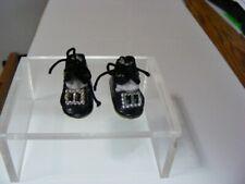 Atq Vtg Black Oilcloth Doll Shoes W/Buckles - Ties - Cardboard Soles W/Heels Wow