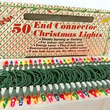 Vintage Christmas Lights Multi Color Liberty Bell 50 Bulb Steady Or Flash