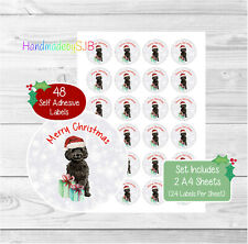 Cockapoo (Black) Christmas Stickers/Envelope Seals, 48 Labels For Cards/Gifts