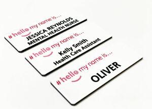 Personalised Hello My Name is Pink Logo Printed Badge Dental Nurse Hospital RGN