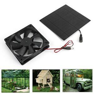 Solar Panel Powered Fan Mini Ventilator For Greenhouse Pet/Dog Chicken House B4