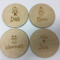 Laser Cut & Engraved Ply Wood Personalised Coaster Unique Gift Idea Family Gift
