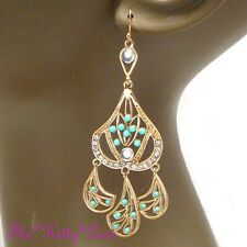 Chic Mint Turquoise Fiilgree Gold Drop Chandelier Earrings w/ Swarovski Crystals