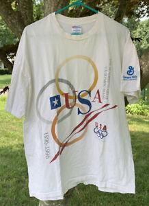 VTG 1996 Olympics Tee Mens XL Single Stitch USA 100 Years Games T-Shirt Rare
