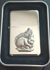 More details for squirrel petrol/oil windproof fliptop chrome/pewter lighter gift
