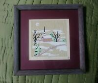 Folk Art Vintage Primitive Landscape Painting 5 Color Format Framed Signed Xmas