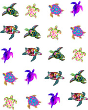 Colorful  Sea Turtles Waterslide Nail Decals/art