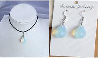 lady Opalite Opal water drip Crystal Quartz pendant earrings Pendant Necklace