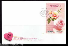 Taiwan 2010 FDC, Valentine Rose, Scented Odd Heart Round Stamp, Flowers
