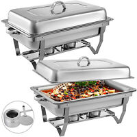 2 Set Bain Marie Chafing Dish 9L Stainless Steel Buffet Food Chafer Stackable