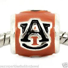 Auburn University Logo Charm Bead for Snake Chain Charm Bracelets
